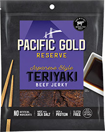 Image of Pacific Gold Reserve Japanese Style Teriyaki Beef Jerky packaging