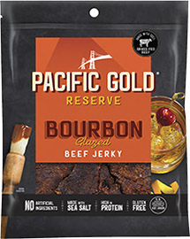 Image of Pacific Gold Reserve Bourbon Glazed Beef Jerky packaging